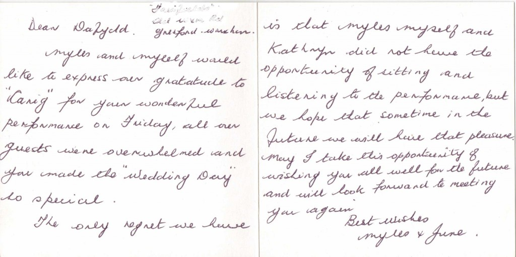 June Roberts letter of thanks
