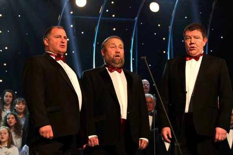 Canig trio group, Singers; L/R Geraint Anwyl, Dafydd Jones and Merfyn Owen singing live at the Carols from Llandudno, Daily Post Concert during Sunday night's concert Photo Robert Parry Jones